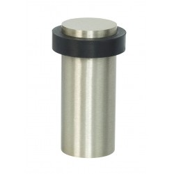 Miles Nelson Floor Mounted Round Door Stop 90mm Satin Nickel - each