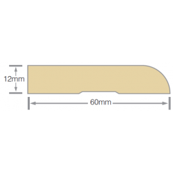 Mould 60x12mm Bull Nose Arch Pre-Primed MDF - 5.4m
