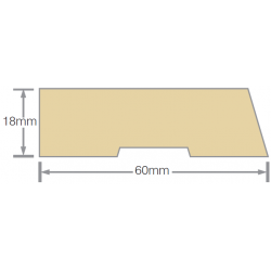 Mould No20a 60x18mm Bevelled Architrave RAD FJ UT KD - 5.4m