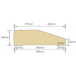 Mould 60x18mm Splay Architrave Gesso  F/J Pre-Primed - Per Meter