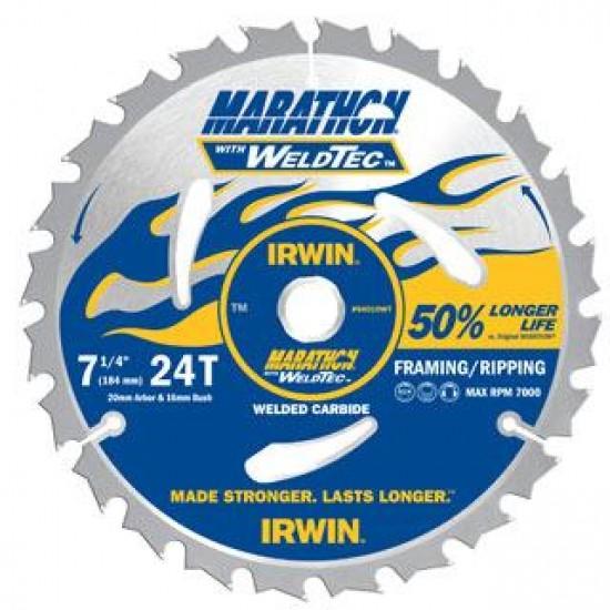 Irwin Marathon WeldTec Circular Saw Blade 210mm 24T - Ripping/Cross Cutting