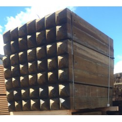 Bollards 150x150x1.5m H4 Sawn, Pointed top, Collared, 13mm Hole