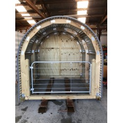 Half round shed with steel gate - Zincalume 2.4m x 2.4m long x 2.4m high - each